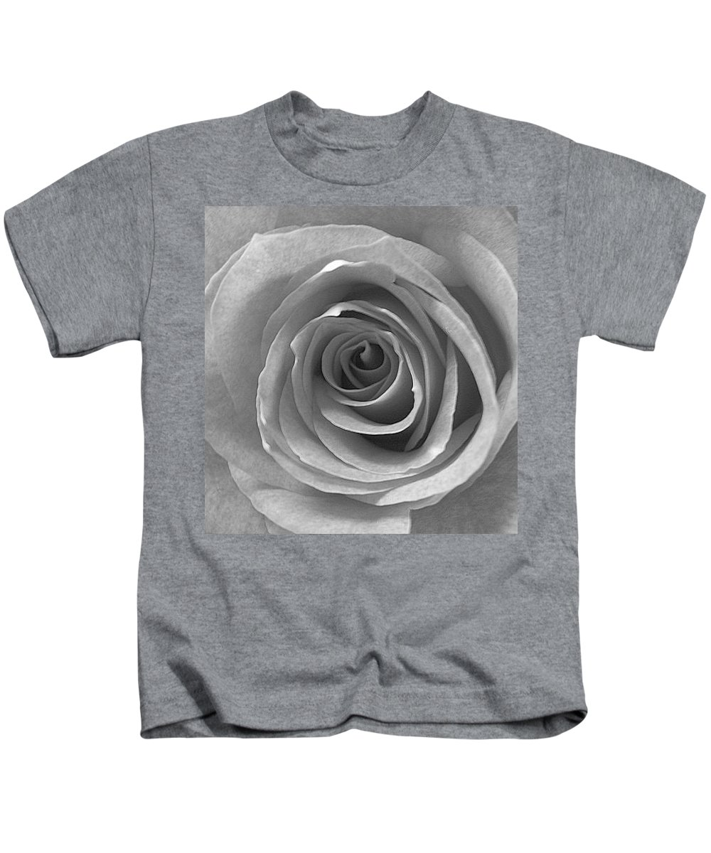 Rose Pedals Kids T-Shirt featuring the photograph Black And White by Luciana Seymour