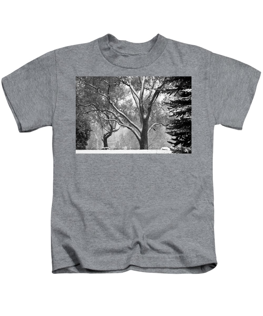 Nature Kids T-Shirt featuring the photograph Black And White Snowy Landscape by James BO Insogna
