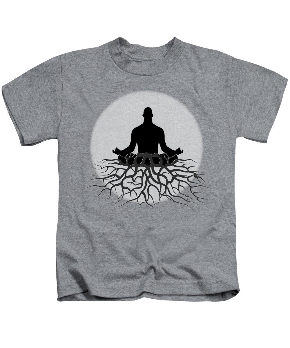 Spiritual Grounding Kids T-Shirt featuring the digital art Black And White Spiritual Grounding by Serena King