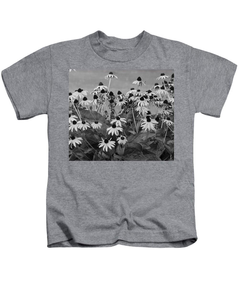 Kids T-Shirt featuring the photograph Black And White Susans by Luciana Seymour