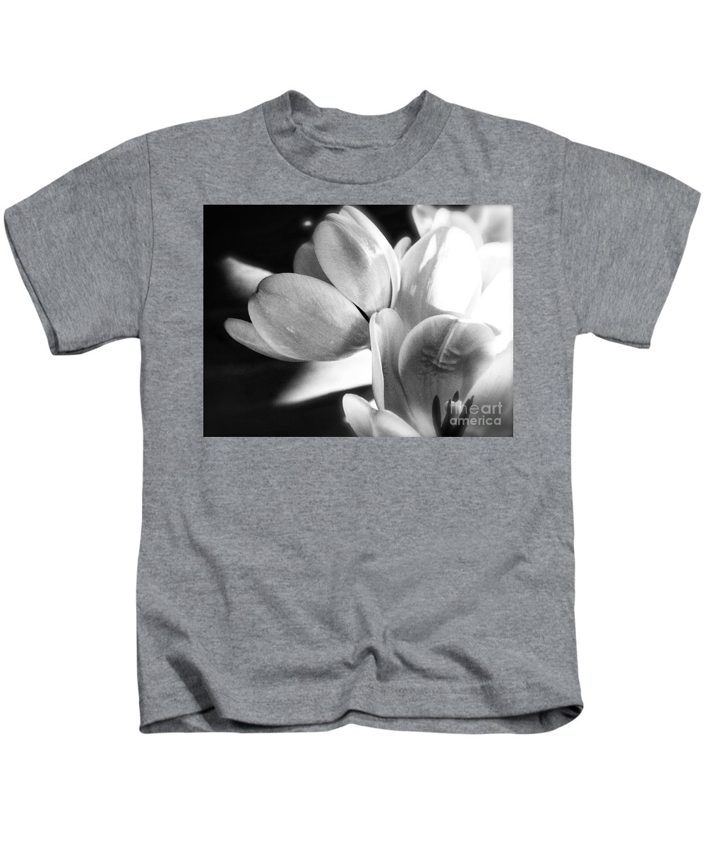 Black And White Photograph Of Tulips Kids T-Shirt featuring the photograph Black And White Tulips #4 by Jeanne Fullerton