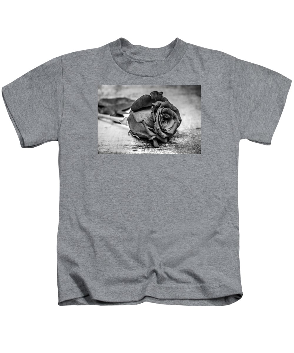 Rose Kids T-Shirt featuring the photograph Black Heart by Michael Damiani