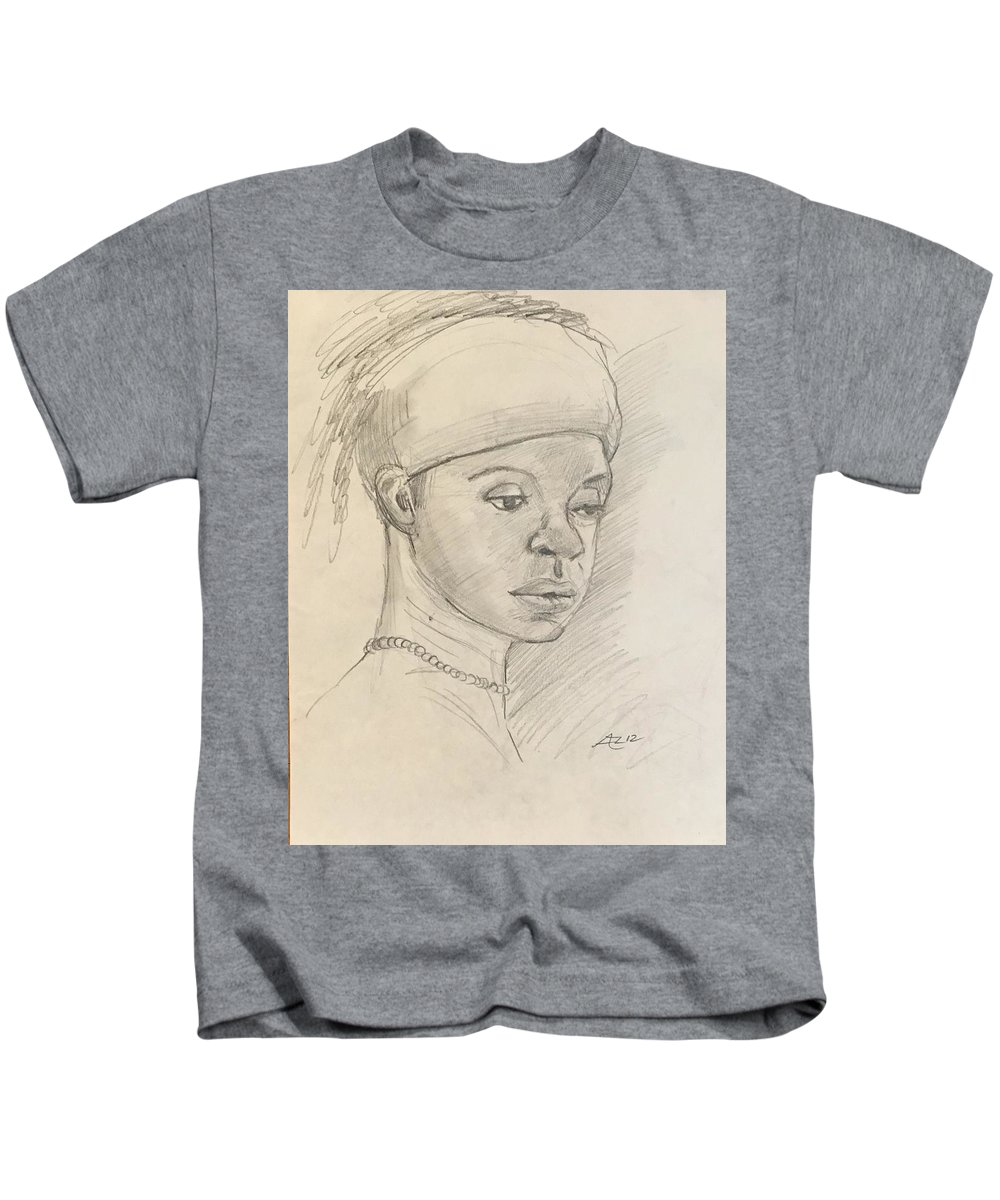 Kids T-Shirt featuring the drawing Black Woman by Alejandro Lopez-Tasso