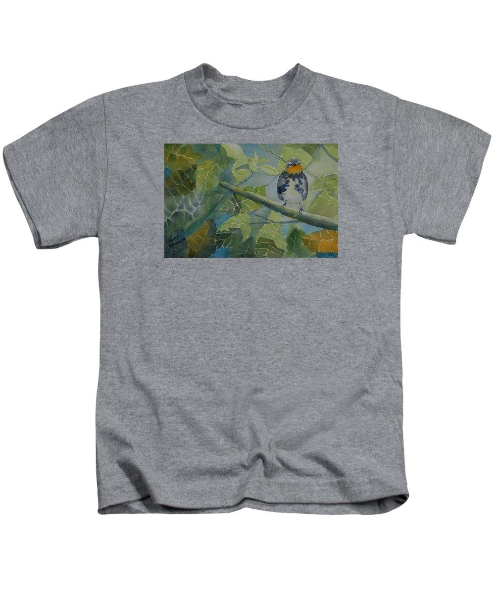 Bird Kids T-Shirt featuring the painting Blackburnian Warbler I by Ruth Kamenev