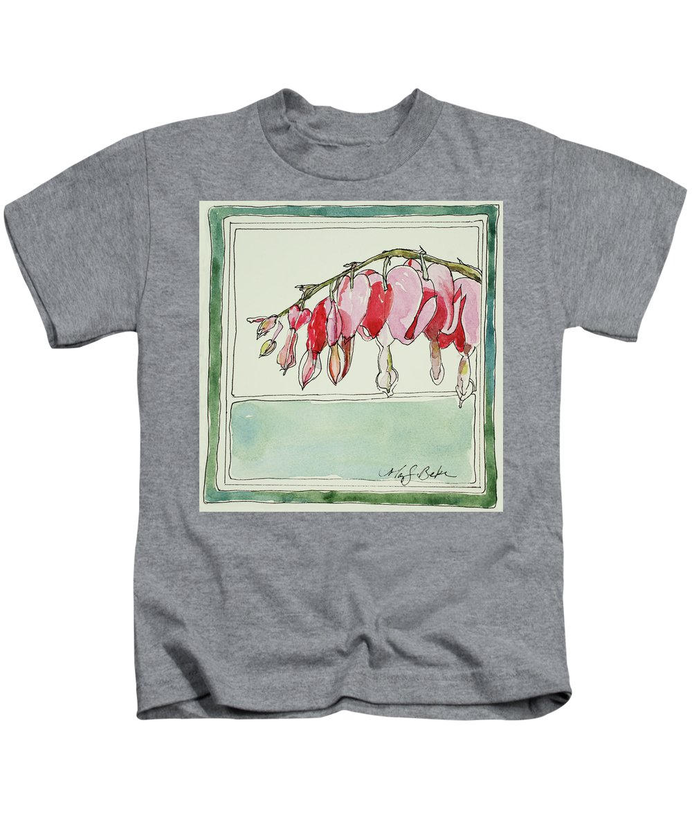 Watercolor Kids T-Shirt featuring the painting Bleeding Hearts II by Mary Benke