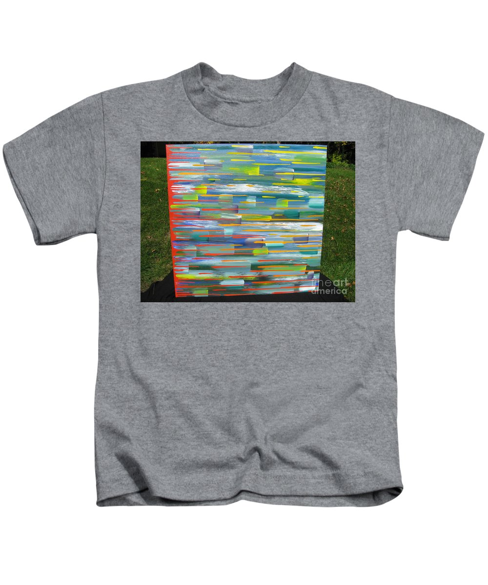 Movement Kids T-Shirt featuring the painting Blindsided by Jacqueline Athmann