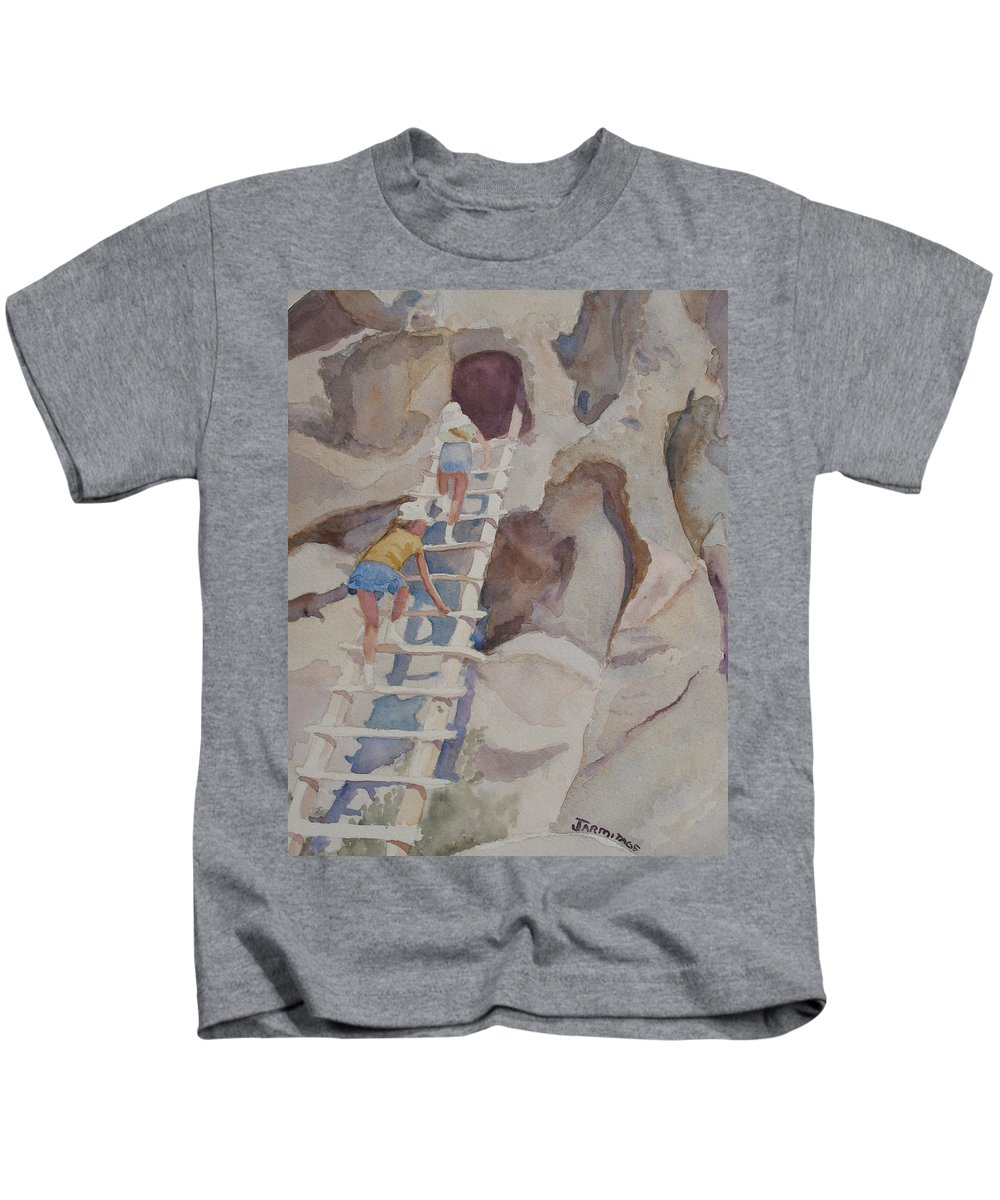 Ladder Kids T-Shirt featuring the sculpture Blond Indians by Jenny Armitage