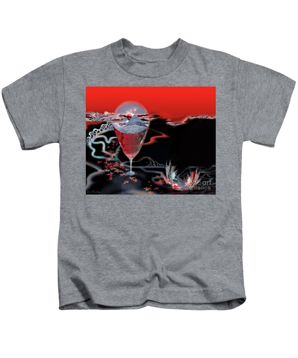 Blood Kids T-Shirt featuring the digital art Blood Red From Pure White by Jennifer Kathleen Phillips