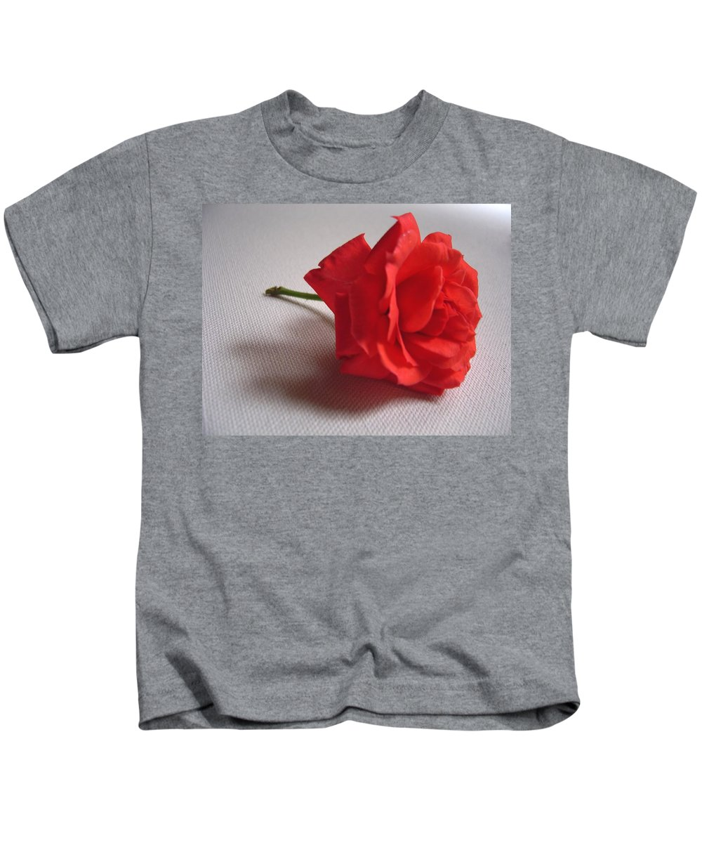 Blood Kids T-Shirt featuring the photograph Blood Red Rose by Usha Shantharam