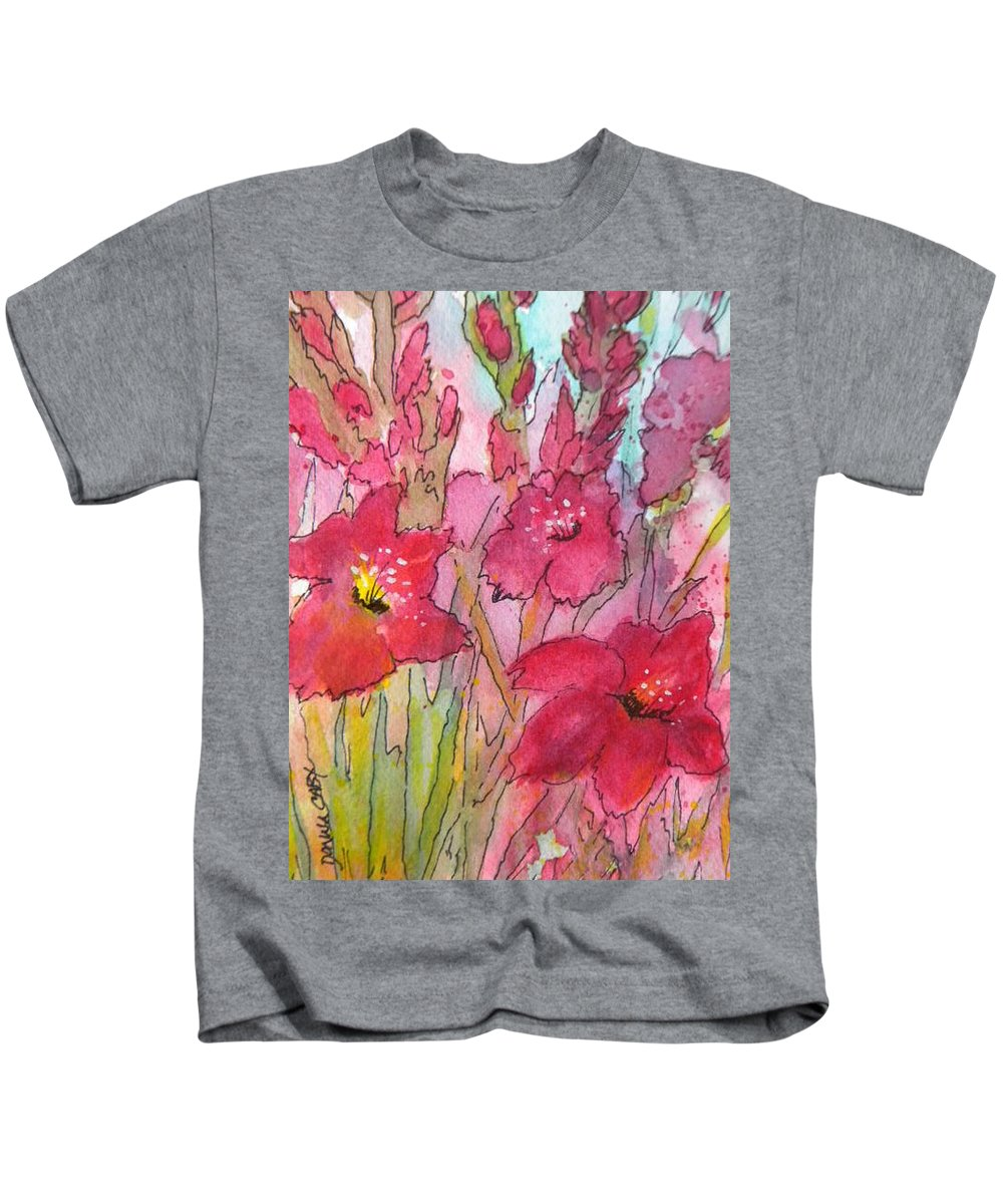 Pink Gladiolus Kids T-Shirt featuring the painting Blooming Glads by Donna Cary