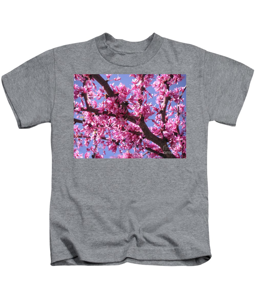 Nature Kids T-Shirt featuring the photograph Blooming Red Buds by Lucyna A M Green