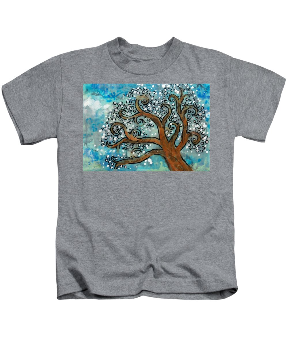 Tree Kids T-Shirt featuring the mixed media Blossom Tree - Miniature Art by Jennifer Kelly