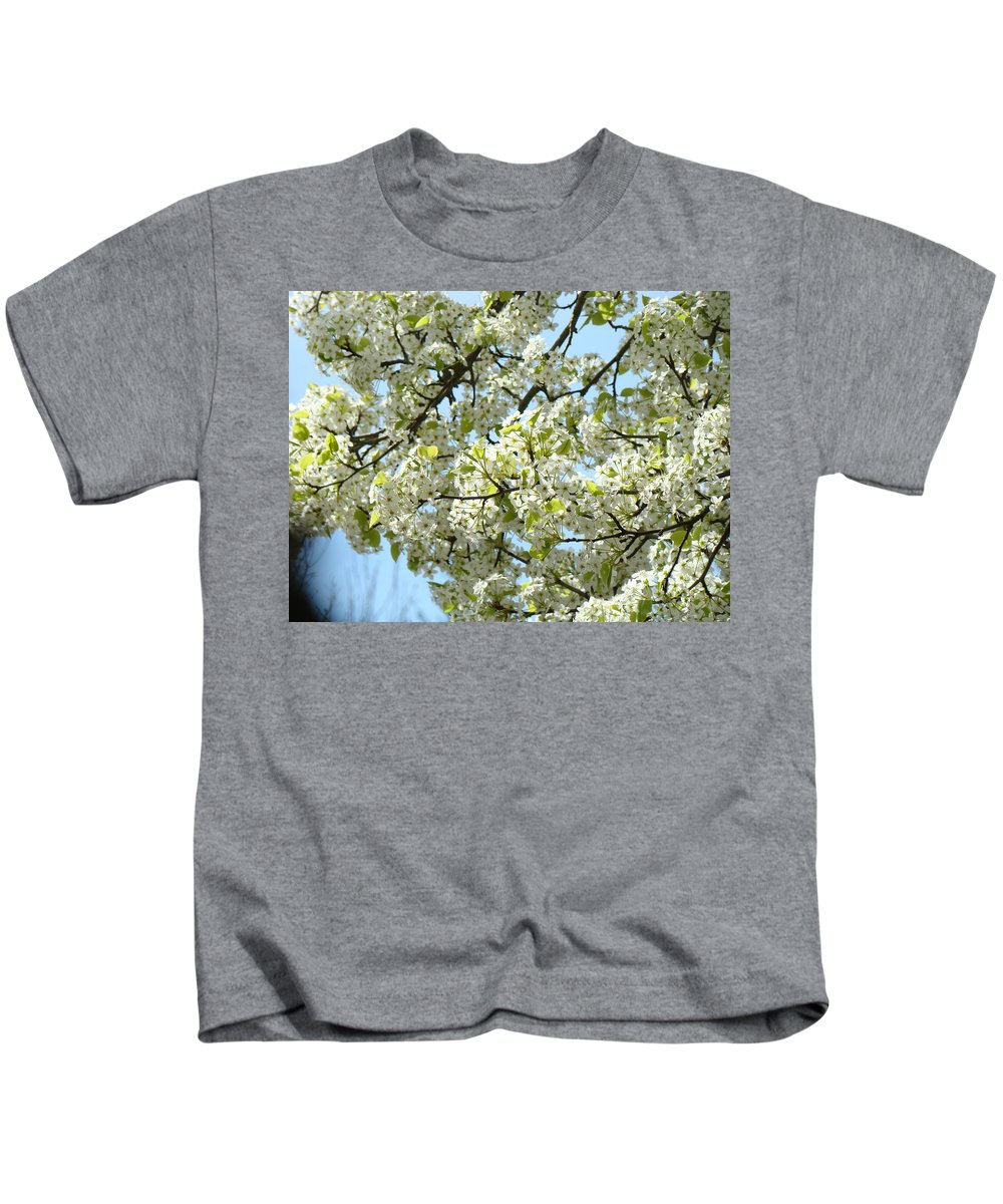 �blossoms Artwork� Kids T-Shirt featuring the photograph Blossoms Whtie Tree Blossoms 29 Nature Art Prints Spring Art by Baslee Troutman