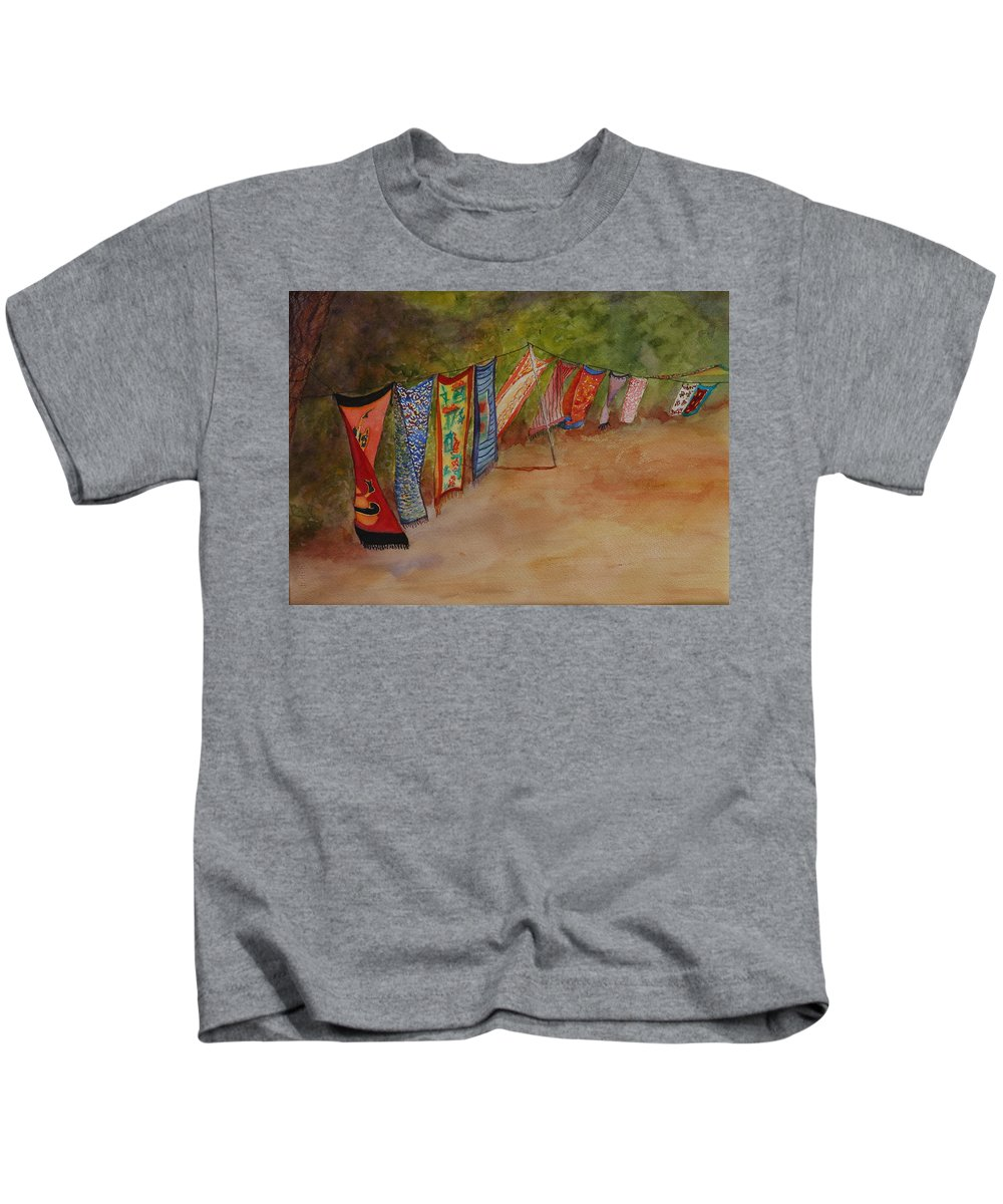 Sari Kids T-Shirt featuring the painting Blowin' In The Wind by Ruth Kamenev