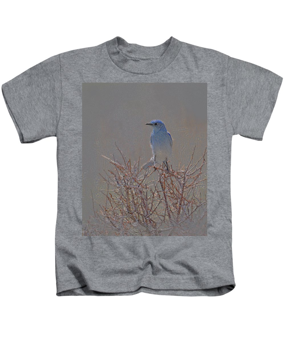Colored Pencil Kids T-Shirt featuring the photograph Blue Bird Colored Pencil by Heather Coen