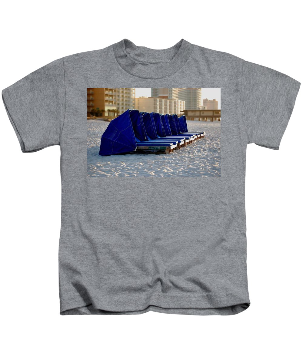 Beach Kids T-Shirt featuring the painting Blue Blocker by Michael Thomas
