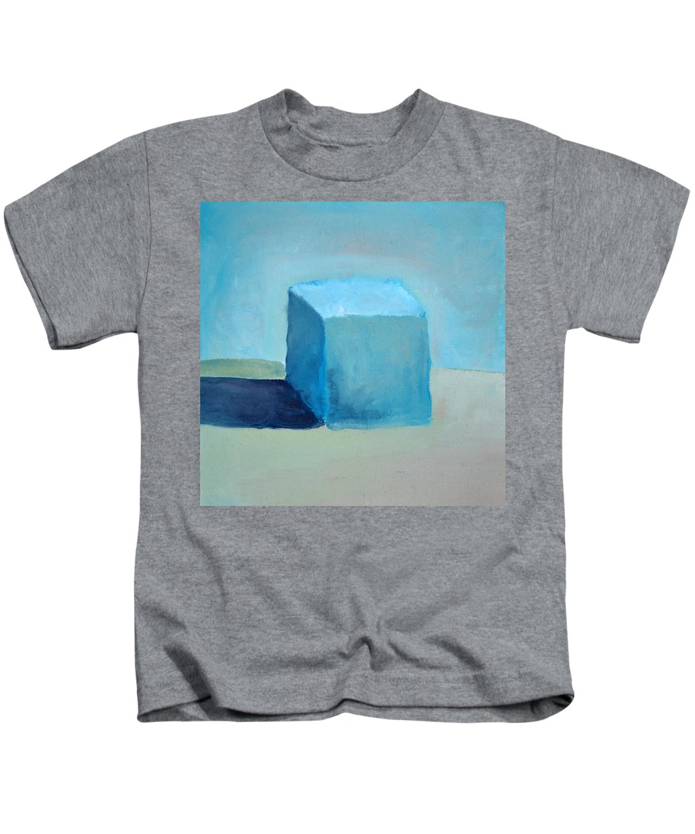 Blue Kids T-Shirt featuring the painting Blue Cube Still Life by Michelle Calkins