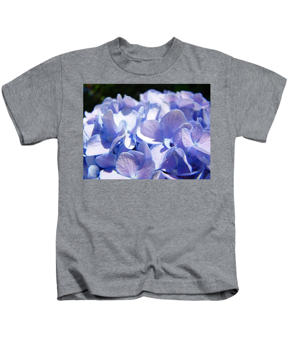 Hydrangea Kids T-Shirt featuring the photograph Blue Floral Art Prints Blue Hydrangea Flower Baslee Troutman by Baslee Troutman
