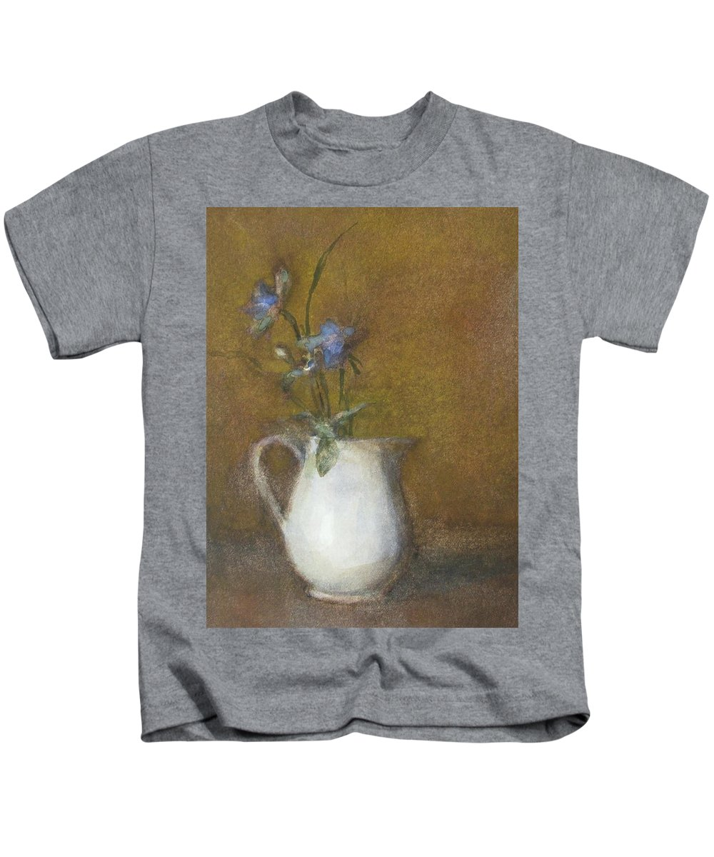 Floral Still Life Kids T-Shirt featuring the painting Blue Flower by Joan DaGradi