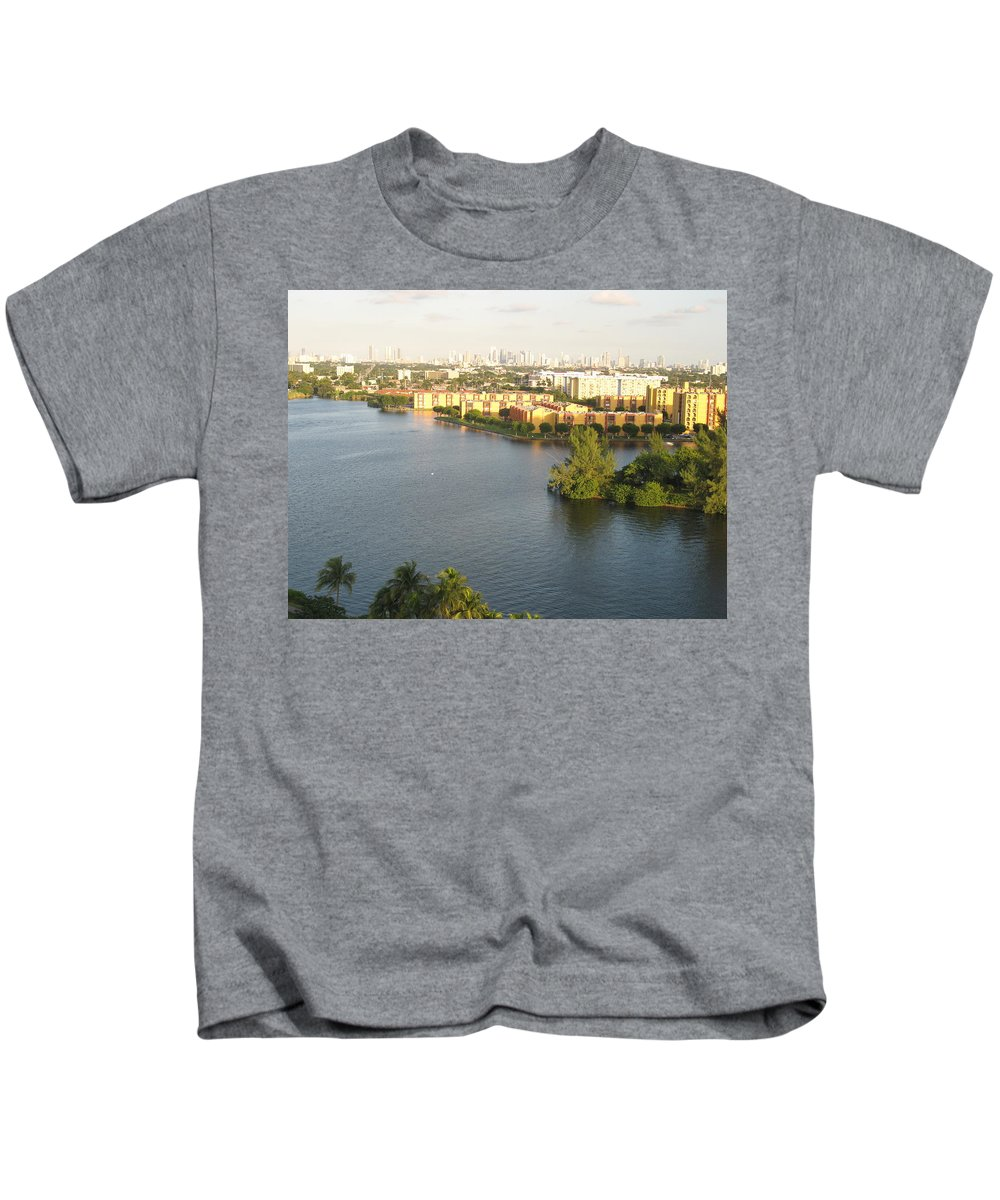 Blue Lagoon Kids T-Shirt featuring the photograph Blue Lagoon Miami by Christiane Schulze Art And Photography