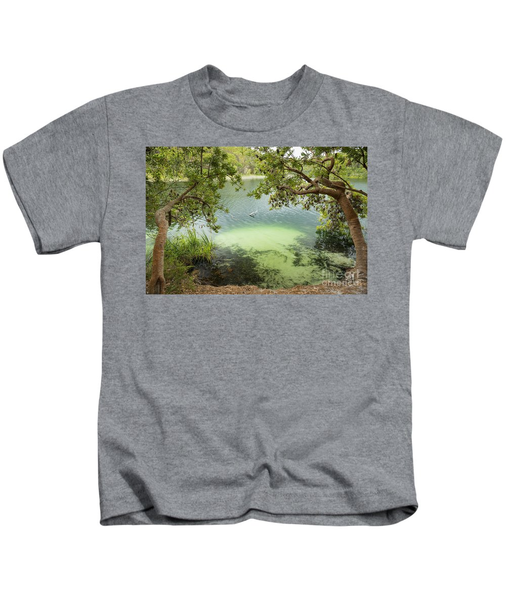 Blue Lake Kids T-Shirt featuring the photograph Blue Lake Stradbroke Island by Tim Hester
