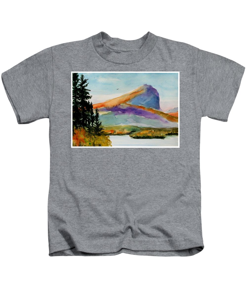 Watercolor Kids T-Shirt featuring the painting Blue Mountain by Mona Davis