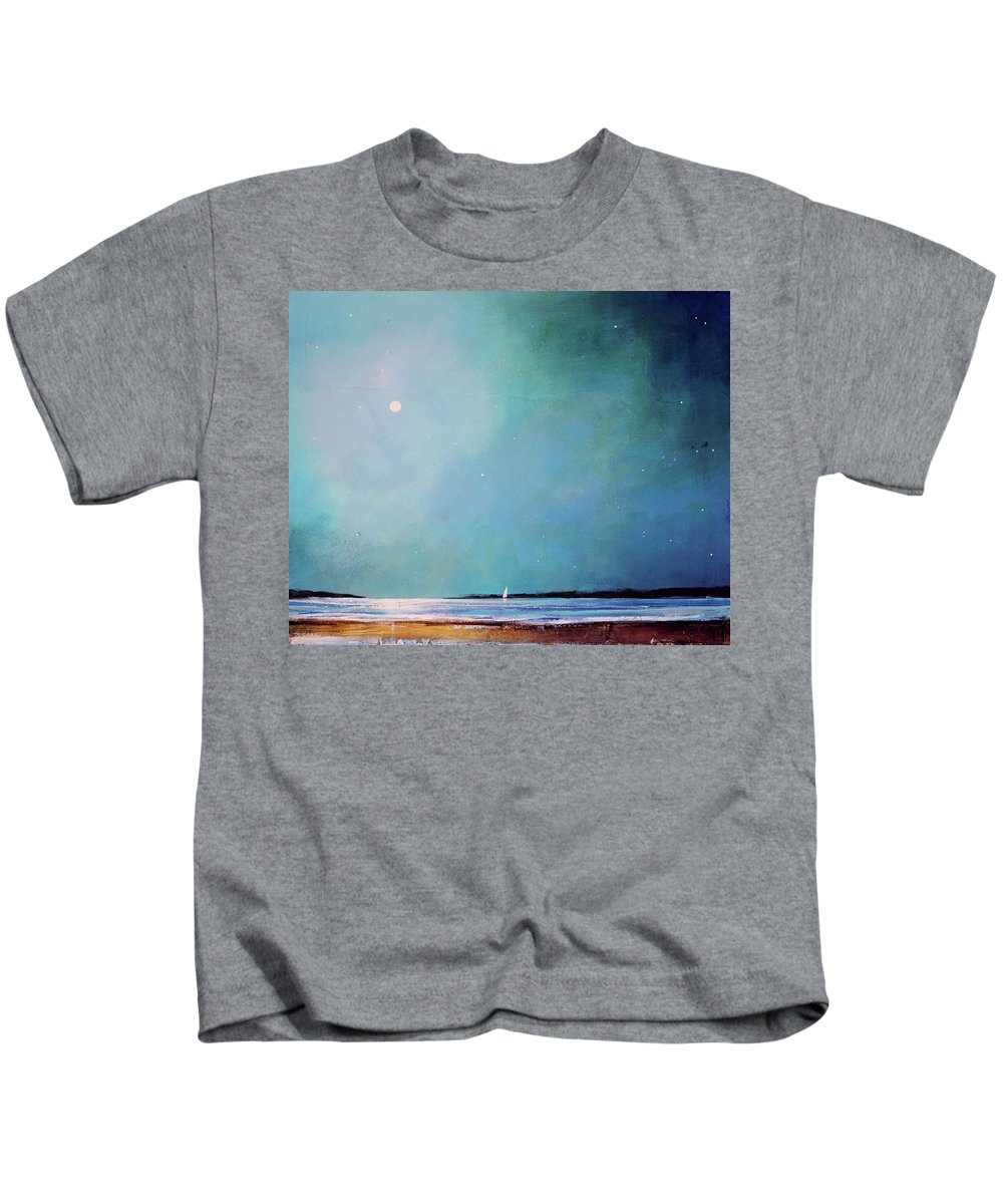 Seascape Kids T-Shirt featuring the painting Blue Night Sky by Toni Grote