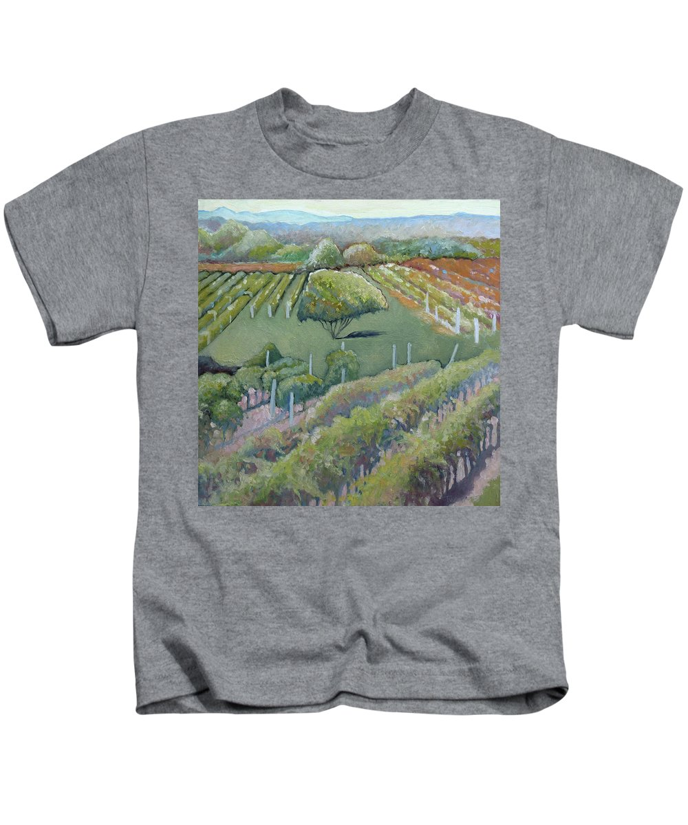 Vineyard Kids T-Shirt featuring the painting Blue Ridge Vineyards 4.0 by Catherine Twomey