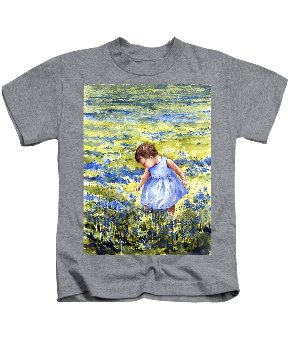 Blue Kids T-Shirt featuring the painting Blue by Sam Sidders