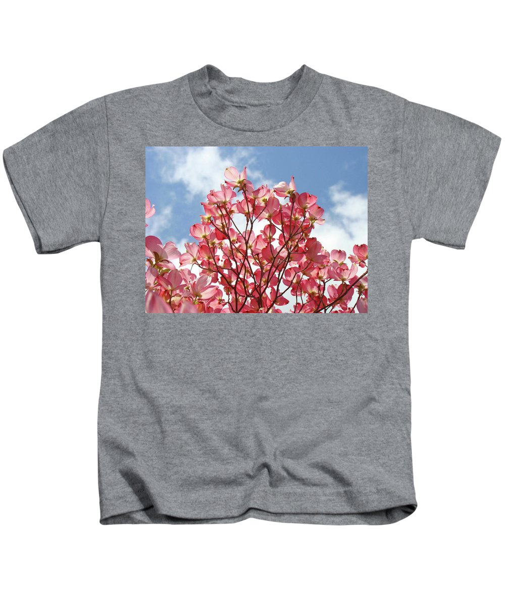 Dogwood Kids T-Shirt featuring the photograph Blue Sky Clouds Landscape 7 Pink Dogwood Tree Baslee Troutman by Baslee Troutman
