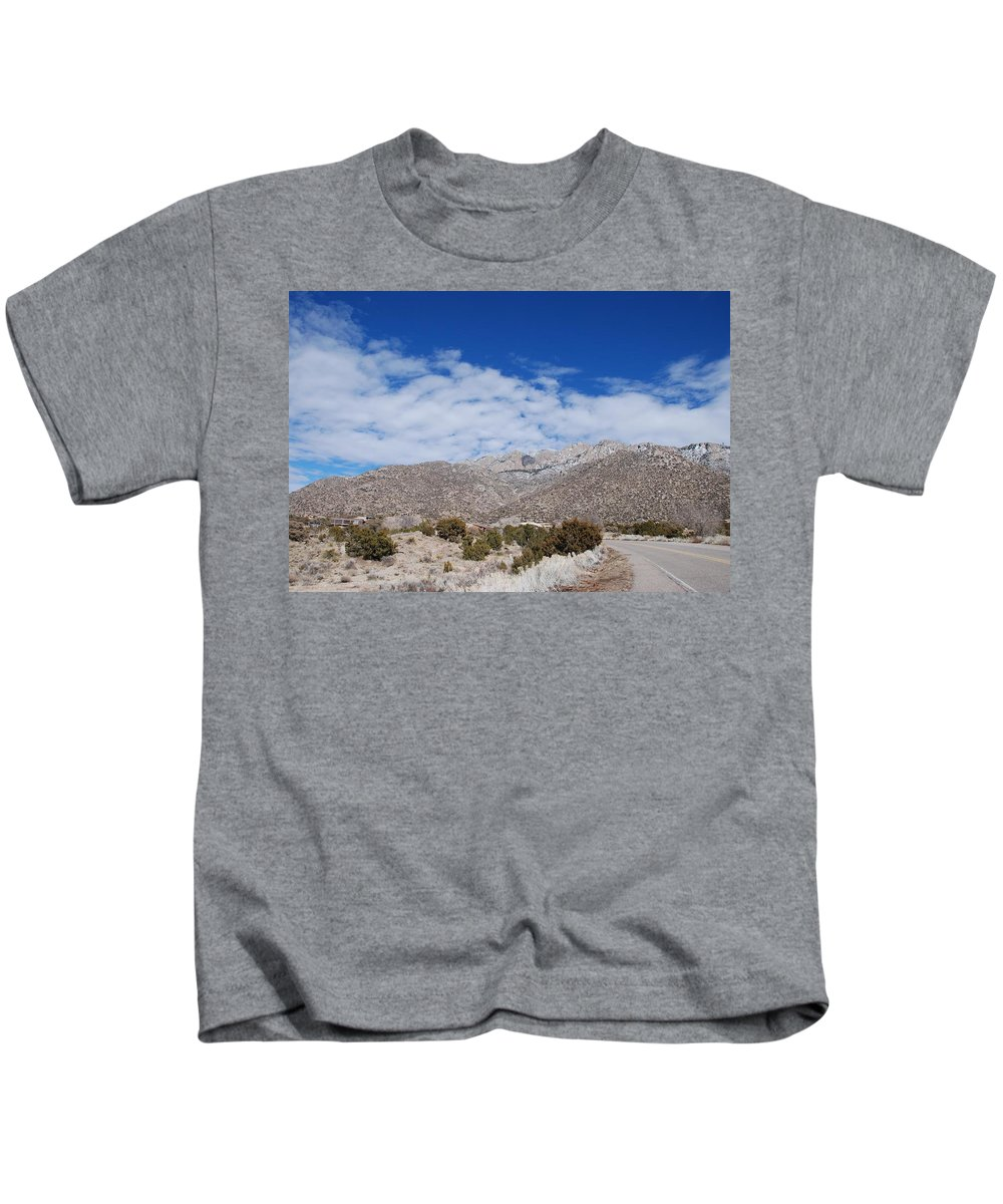 Sandia Mountains Kids T-Shirt featuring the photograph Blue Skys Over The Sandias by Rob Hans