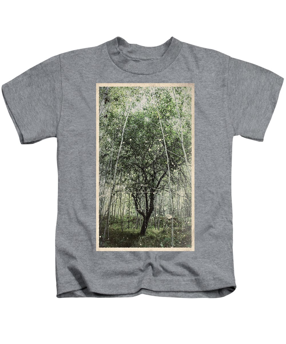 Hand Kids T-Shirt featuring the photograph Blue Vintage Hand Of God Apple Tree by Christina VanGinkel