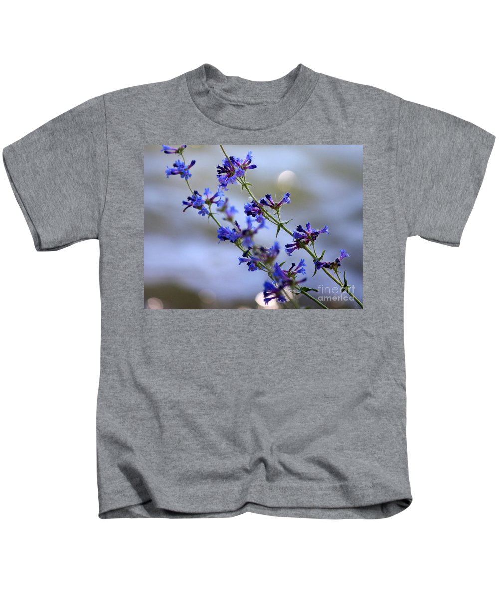 Blue Kids T-Shirt featuring the photograph Blue Wildflowers Over Rimrock Lake by Carol Groenen