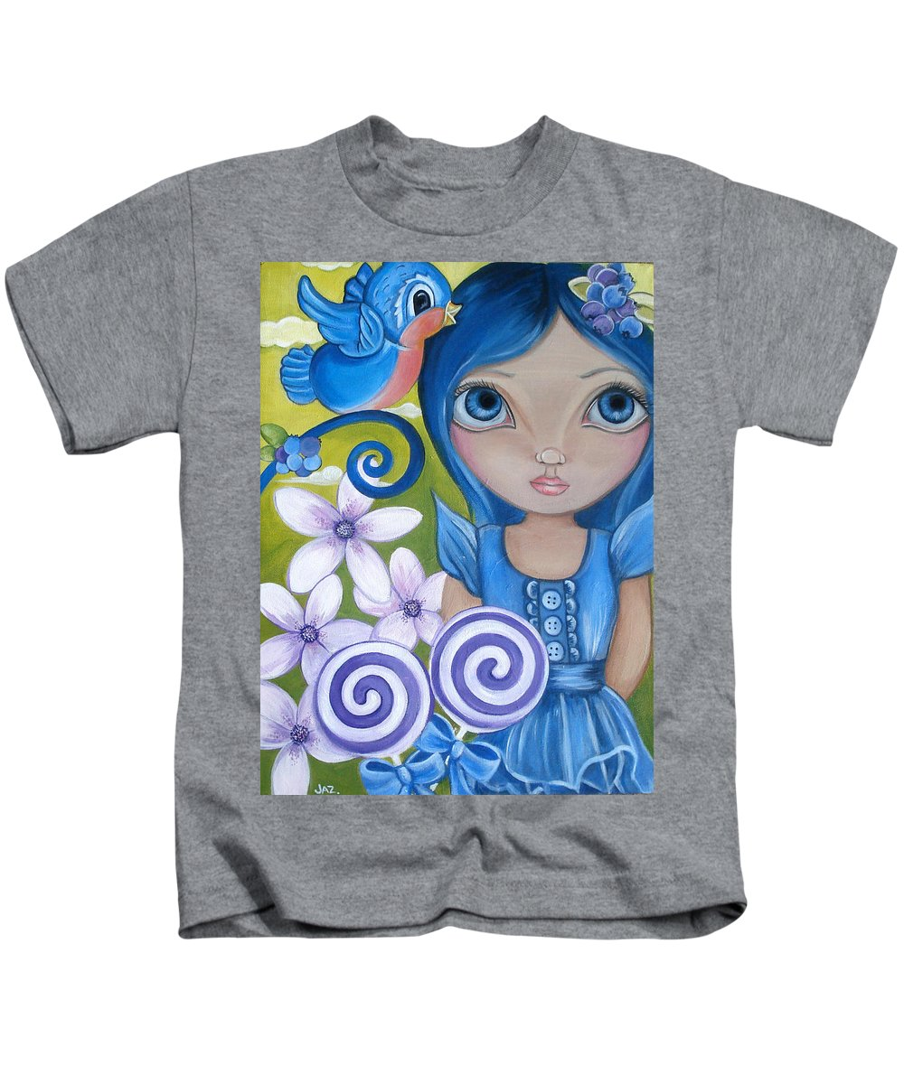 Blue Kids T-Shirt featuring the painting Blueberry by Jaz Higgins