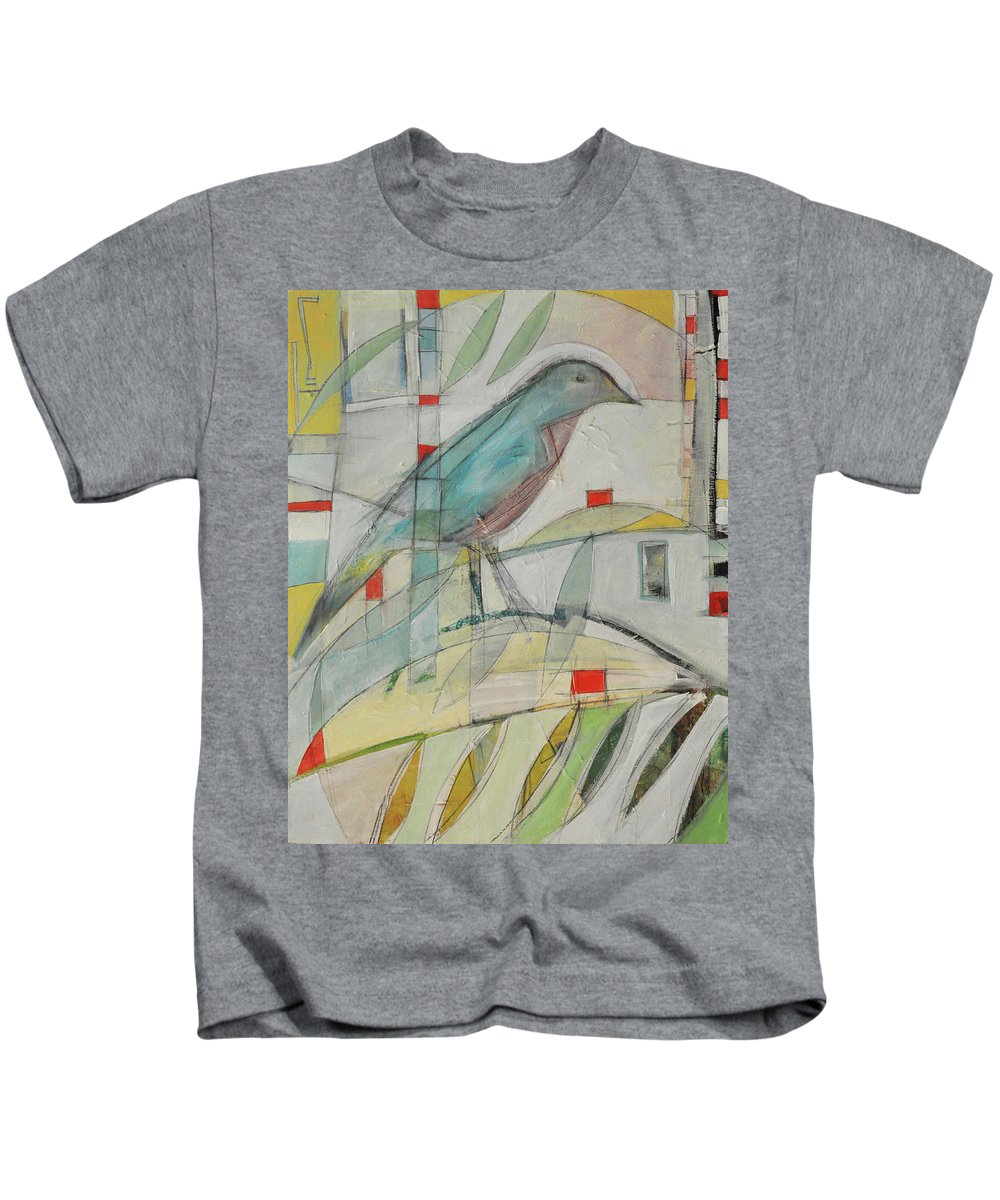 Bluebird Kids T-Shirt featuring the painting Bluebird Of by Tim Nyberg