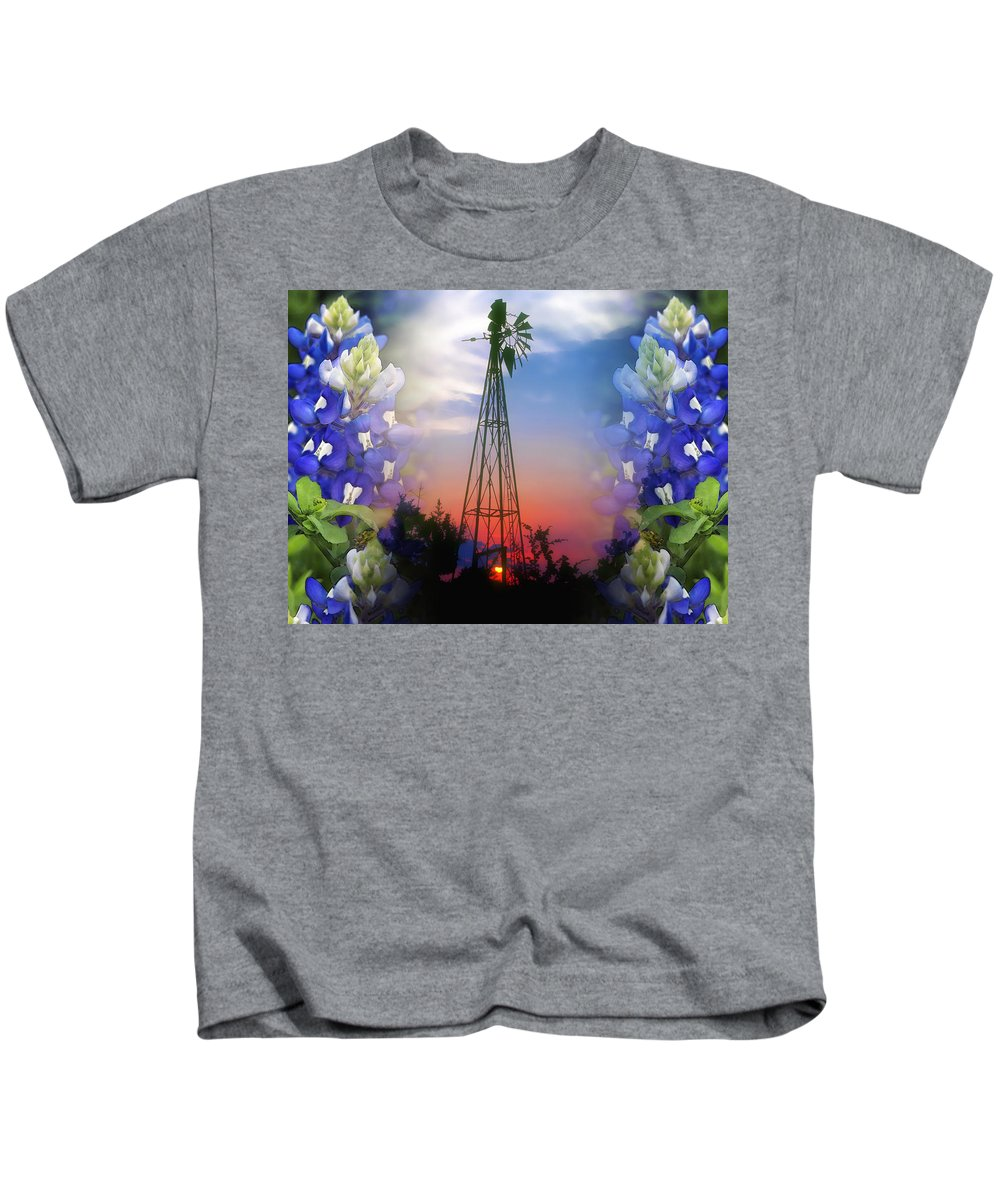 Bluebonnets Kids T-Shirt featuring the photograph Bluebonnets And Windmill by Stephen Anderson