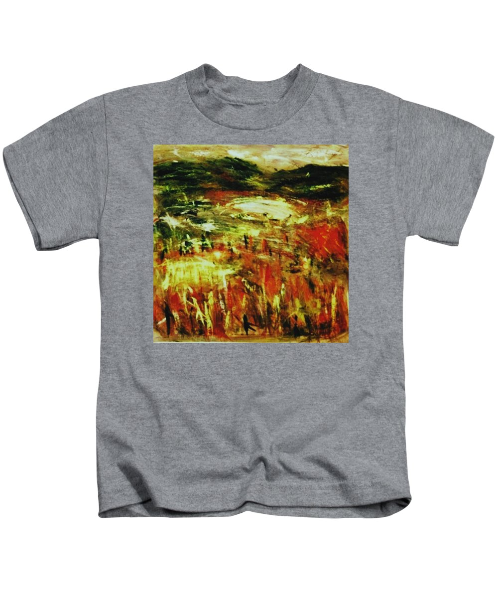 Abstract Landscape Kids T-Shirt featuring the painting Bluestack Way by Susan Walsh