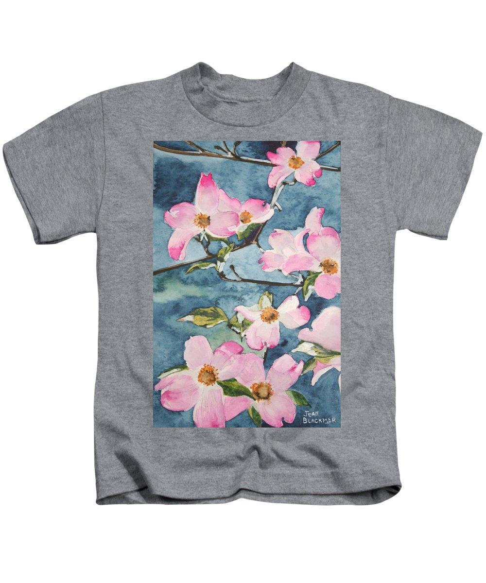 Flowers Kids T-Shirt featuring the painting Blushing Prettily by Jean Blackmer