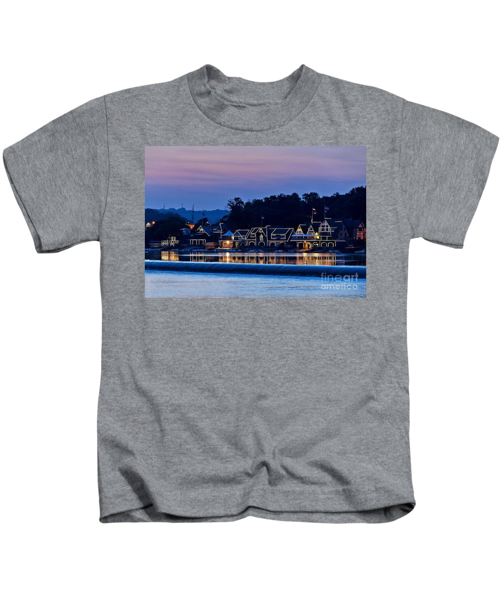 Americana Kids T-Shirt featuring the photograph Boat House Row by John Greim