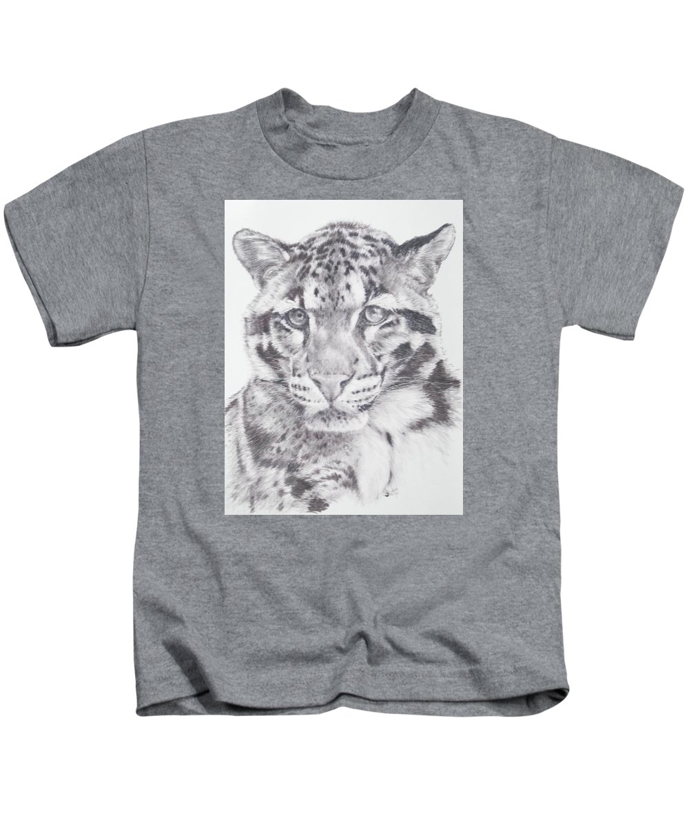 Clouded Leopard Kids T-Shirt featuring the drawing Bold by Barbara Keith
