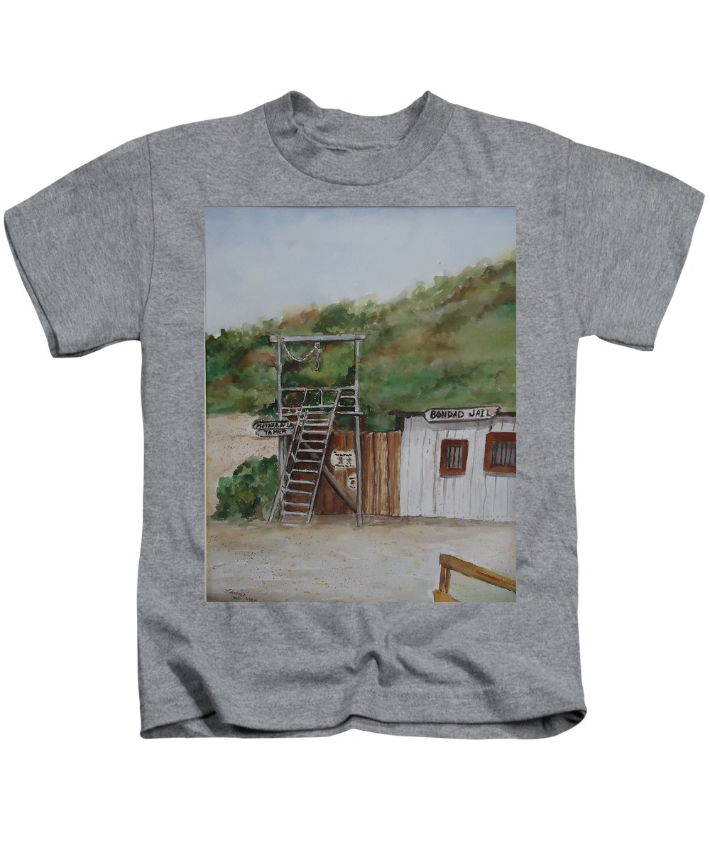 Jail Kids T-Shirt featuring the painting Bondad Colorado Jail by Charme Curtin