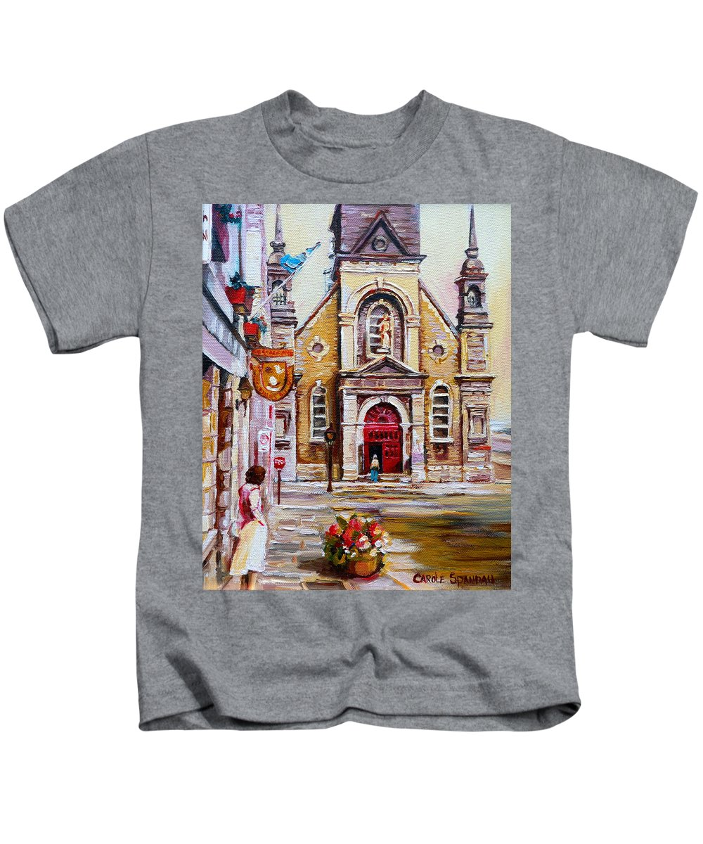 Montreal Churches Kids T-Shirt featuring the painting Bonsecours Church by Carole Spandau