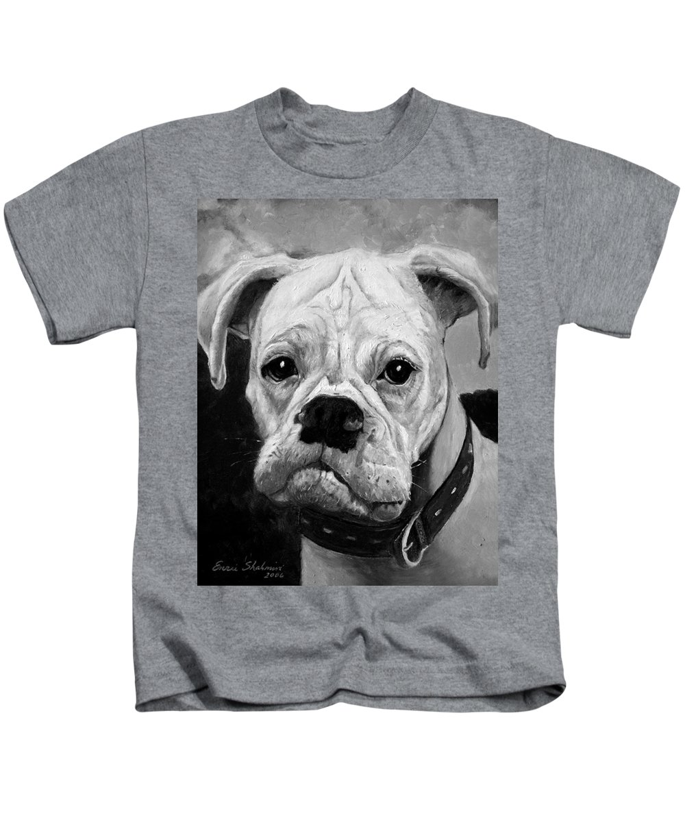 Boxer Kids T-Shirt featuring the painting Boo The Boxer by Portraits By NC