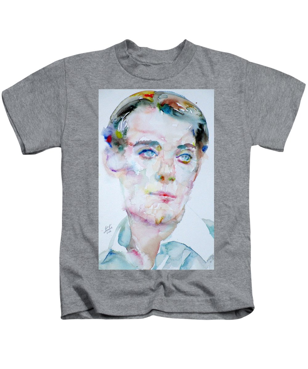 Bosie Kids T-Shirt featuring the painting Bosie - Lord Alfred Douglas - Watercolor Portrait by Fabrizio Cassetta
