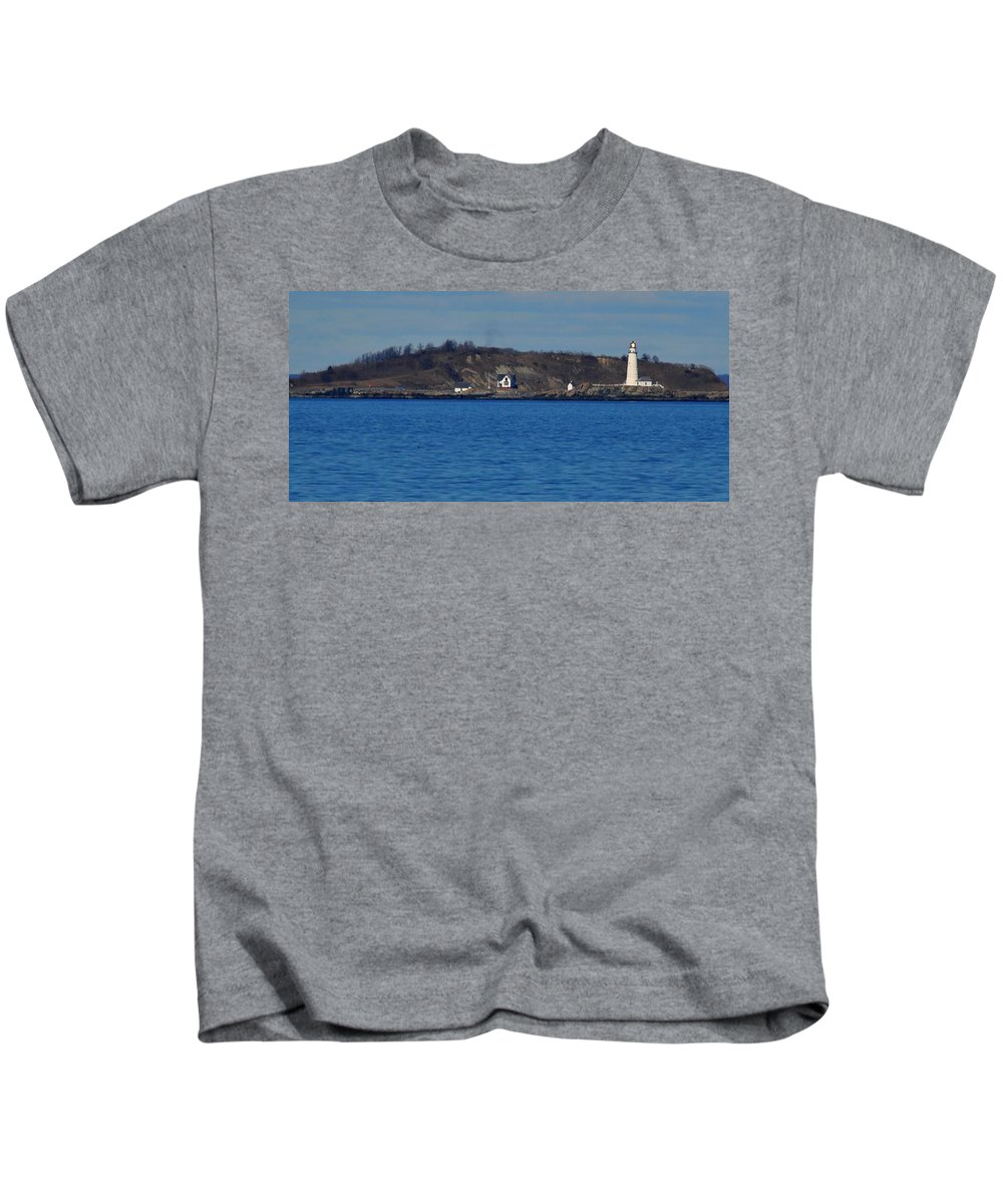 Boston Light And Great Brewster Island Outer Harbor Boston Kids T-Shirt featuring the photograph Boston Light And Great Brewster Island by Bill Driscoll