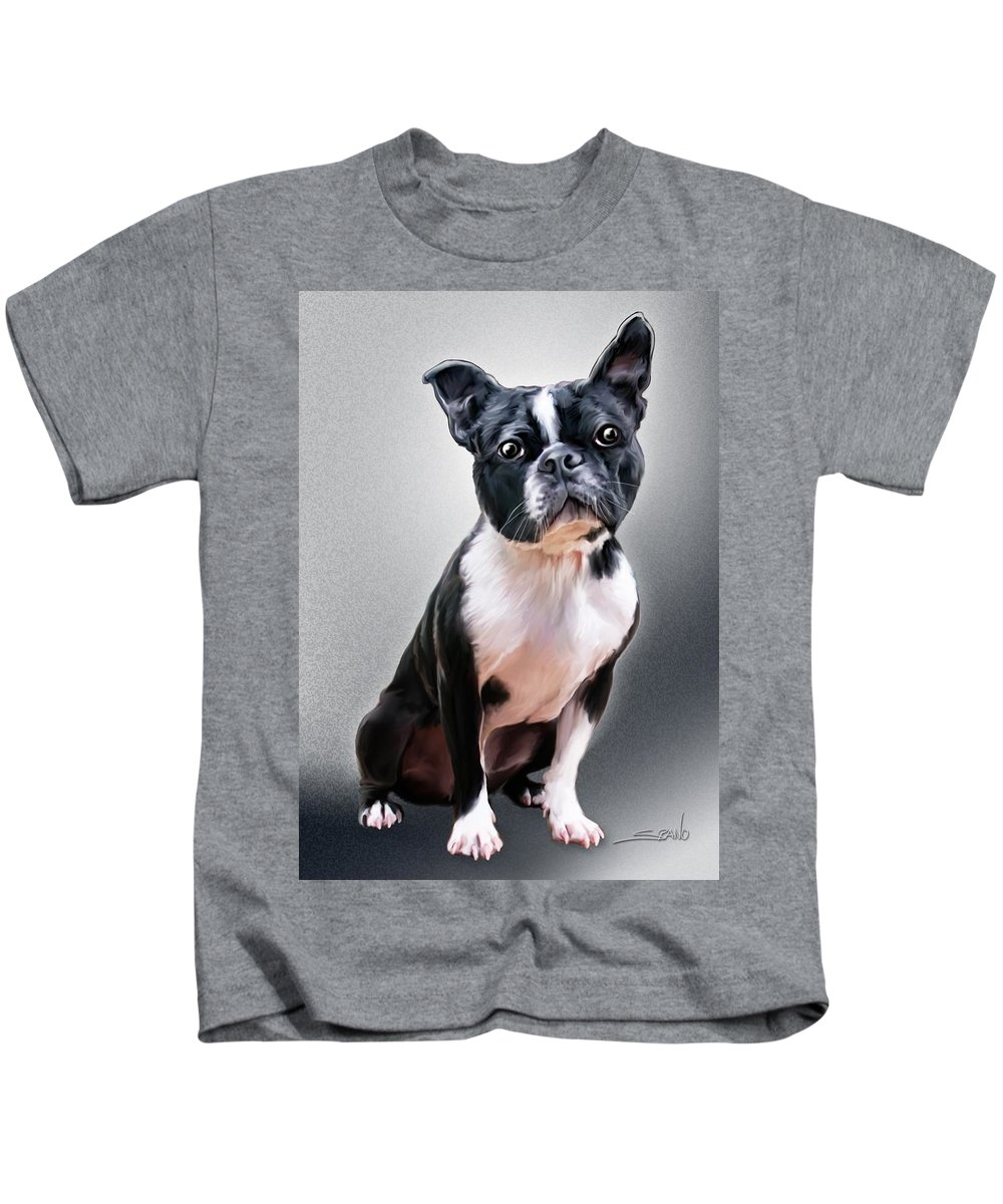 Spano Kids T-Shirt featuring the painting Boston Terrier By Spano by Michael Spano