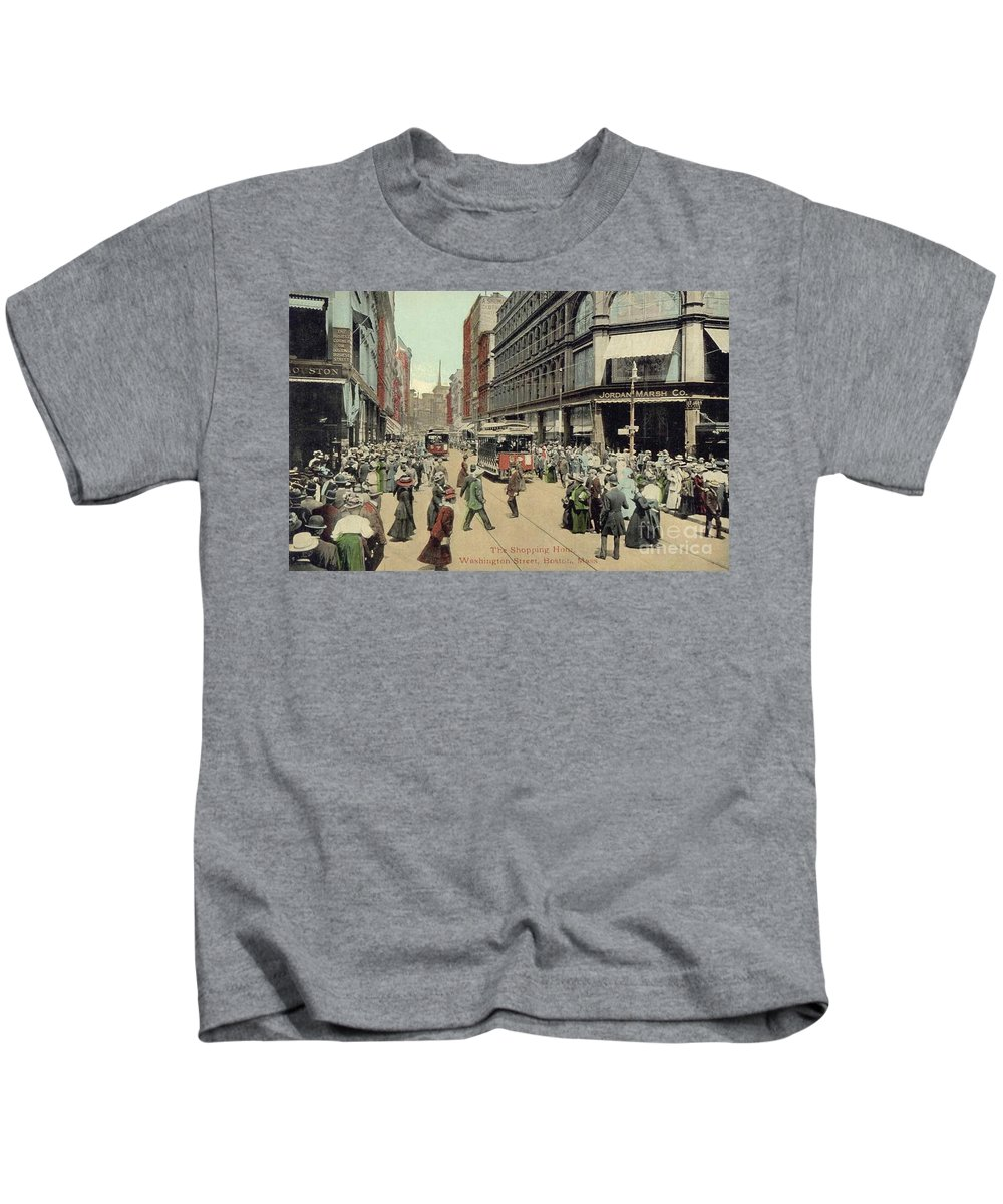1910 Kids T-Shirt featuring the photograph Boston: Washington Street by Granger