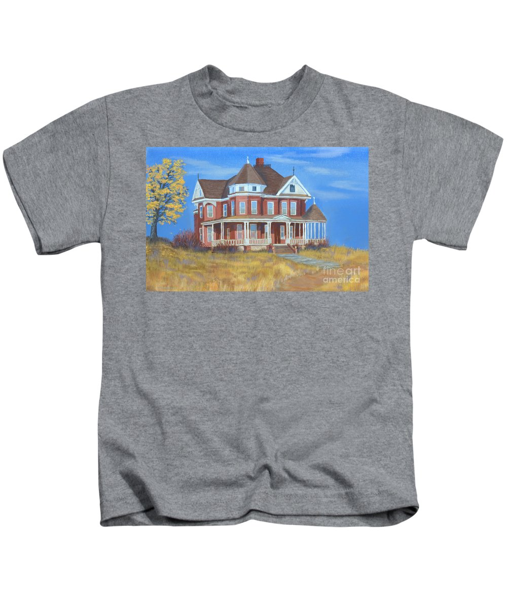 Boulder Kids T-Shirt featuring the painting Boulder Victorian by Jerry McElroy
