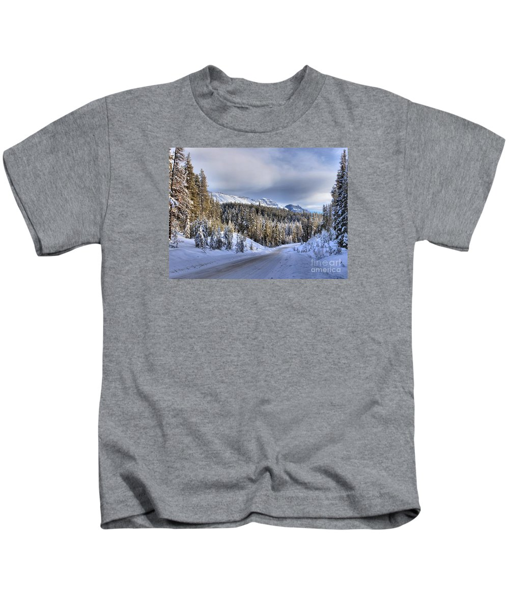 Bow Valley Kids T-Shirt featuring the photograph Bow Valley Parkway Winter Scenic by Adam Jewell