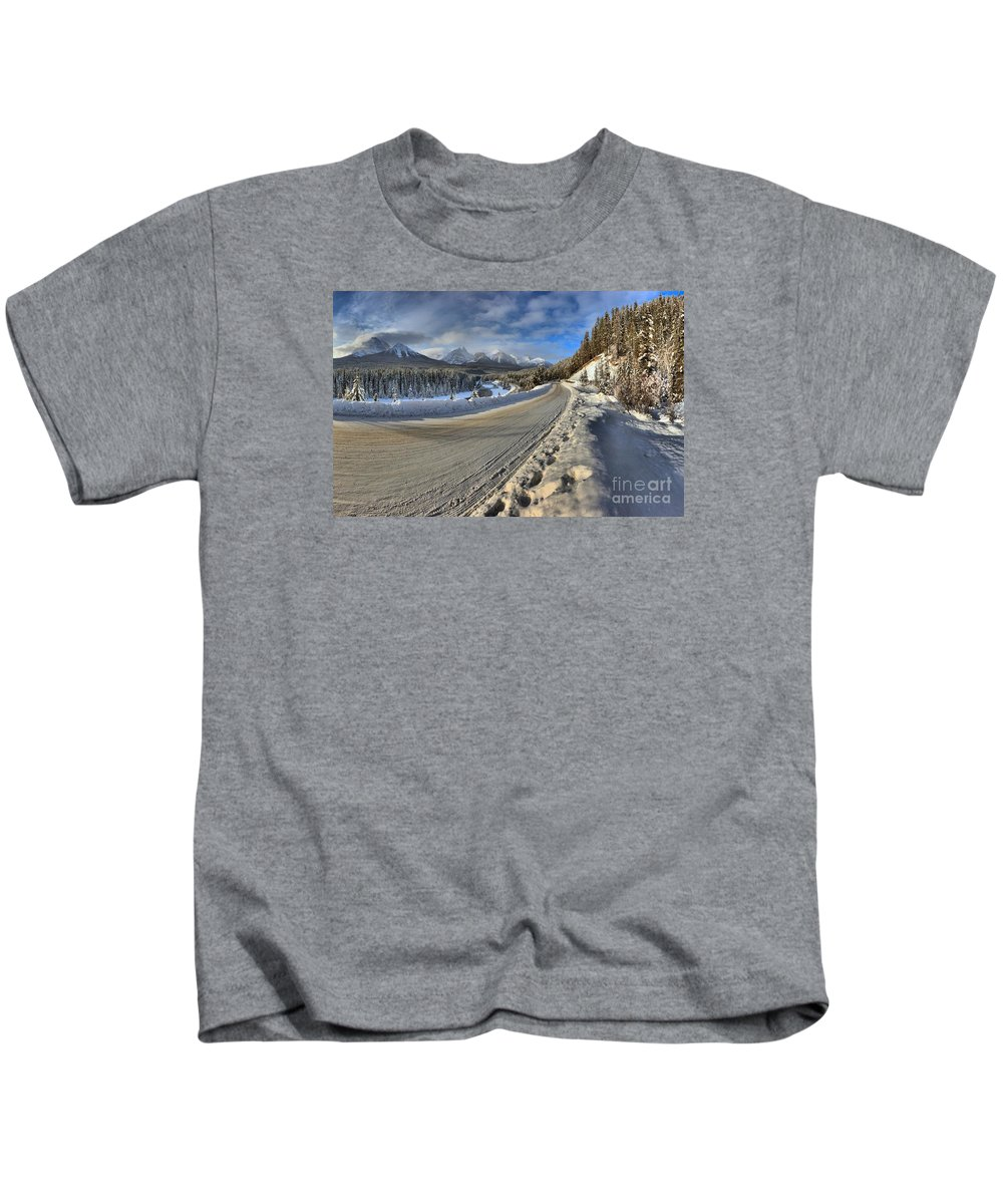 Morant Kids T-Shirt featuring the photograph Bow Valley Winter Wonderland by Adam Jewell